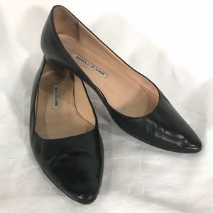 Manolo Blahnik Black Leather Ballet Flats Pointed
